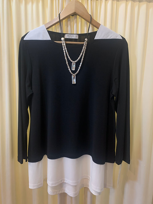 Jess & Jane Black with White Detail Jersey Top