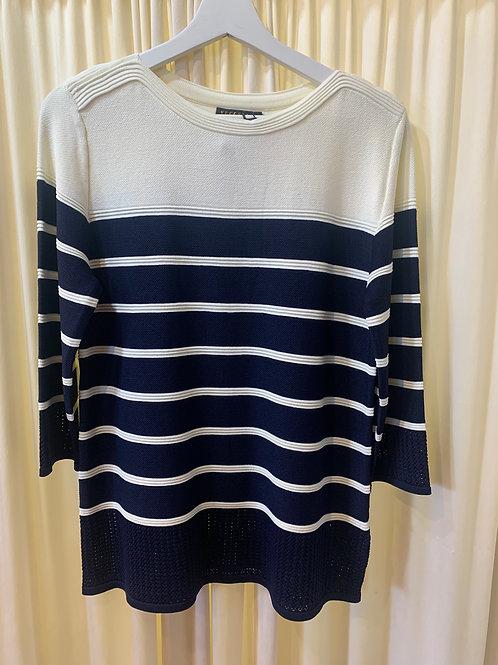 Vecceli Cream and Navy Stripe Sweater