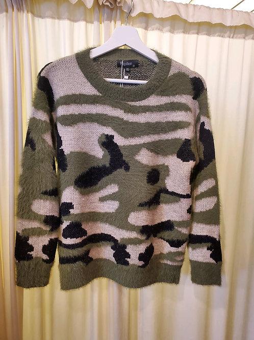 Camo Print Fuzzy Knit Sweater