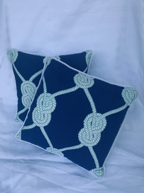 Navy Knot Pillow with Cording Detail