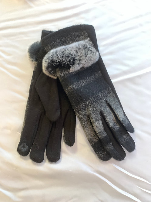 Grey / Black Fur Trimmed Gloves