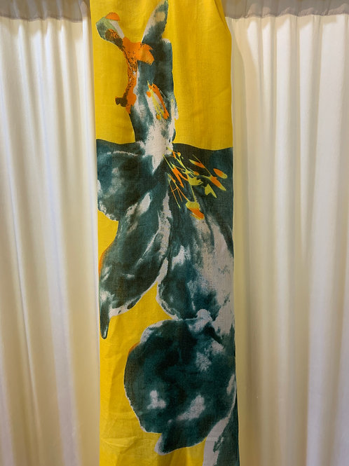 Yellow and Green Flower Print Scarf