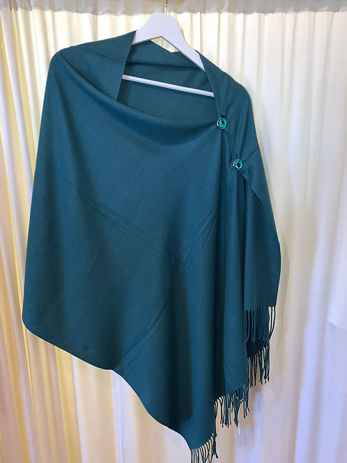 Teal Green Cotton/Rayon Scarf with Button Detail