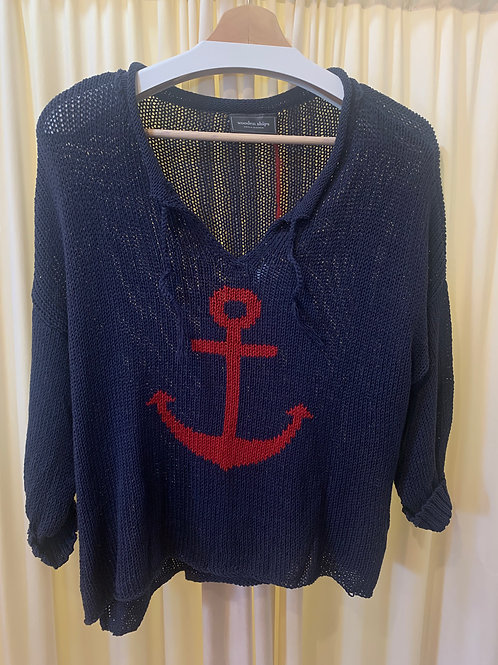 Navy with Red Anchor Wooden Ships Cotton Knit Sweater