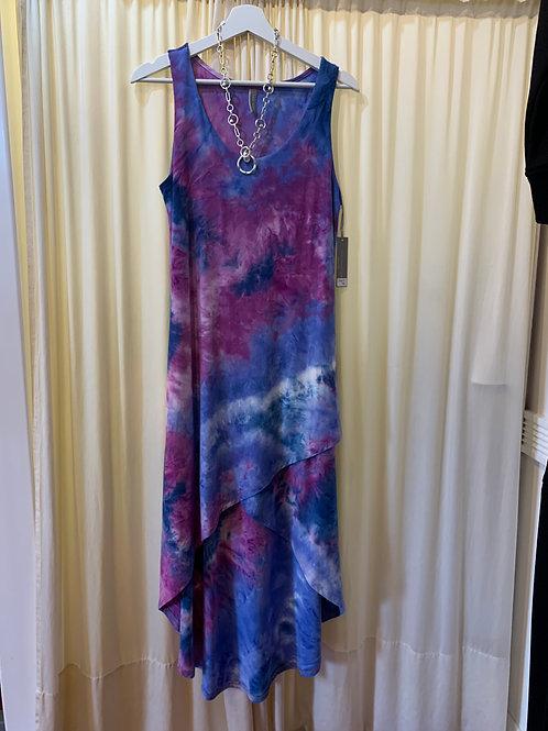 Purple White Cotton / Rayon Tied Dyed Dress