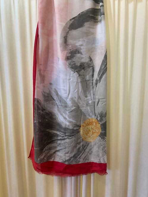 Red and Grey Flower Print Scarf