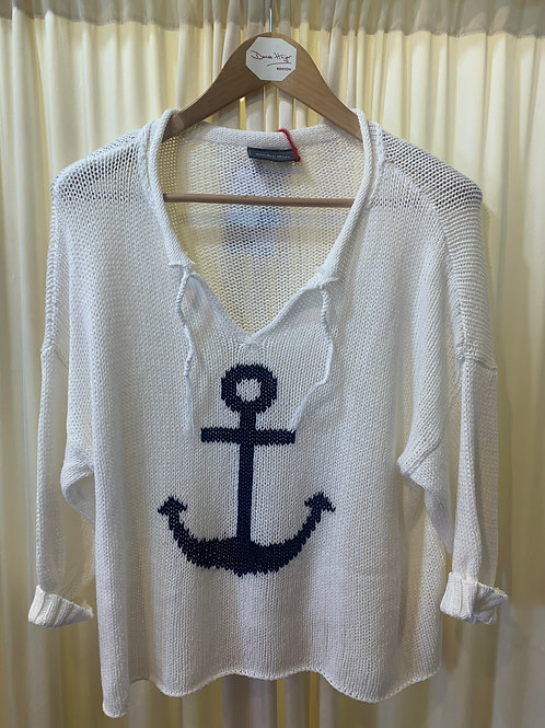 White with Naavy Anchor Wooden Ships Cotton Knit Sweater