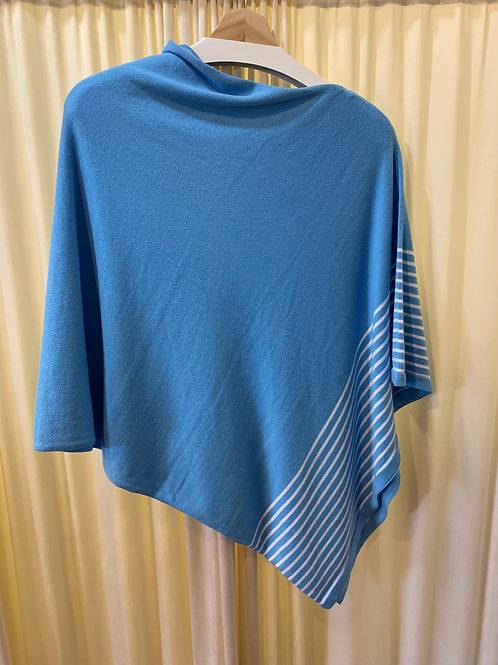Blue and White Cotton Cable Knit Coverup with Button Detail