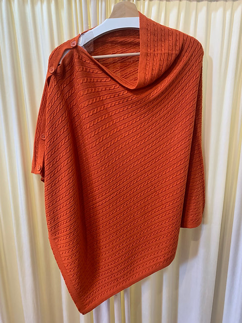 Orange Cotton Cable Knit Coverup with Button Detail