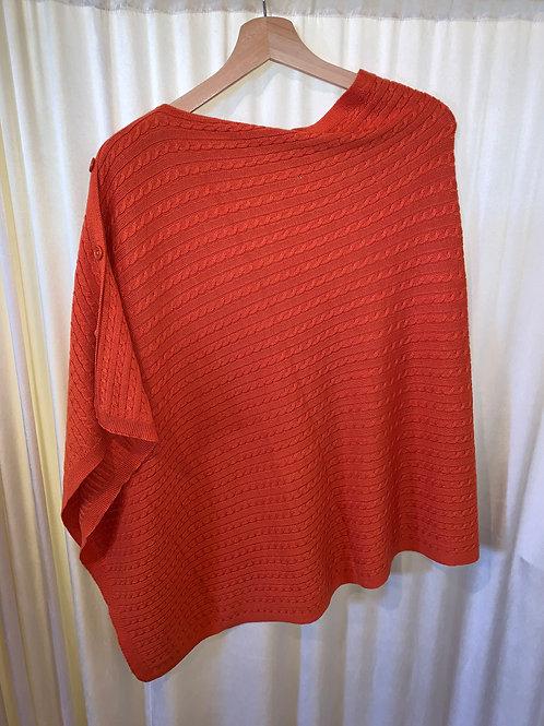 Orange No Sleeve Button Detail Pullover