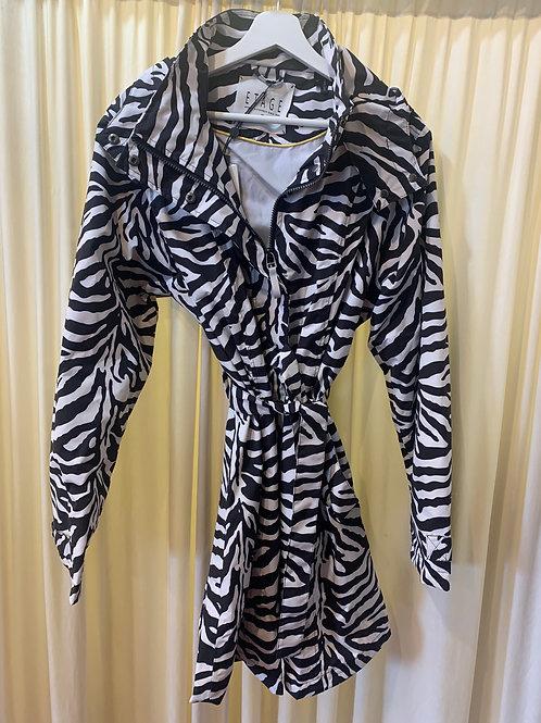 Zebra Houndstooth Pattern Rain Coat Black and White