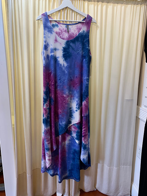 Blue and Purple White Cotton / Rayon Tied Dyed Dress