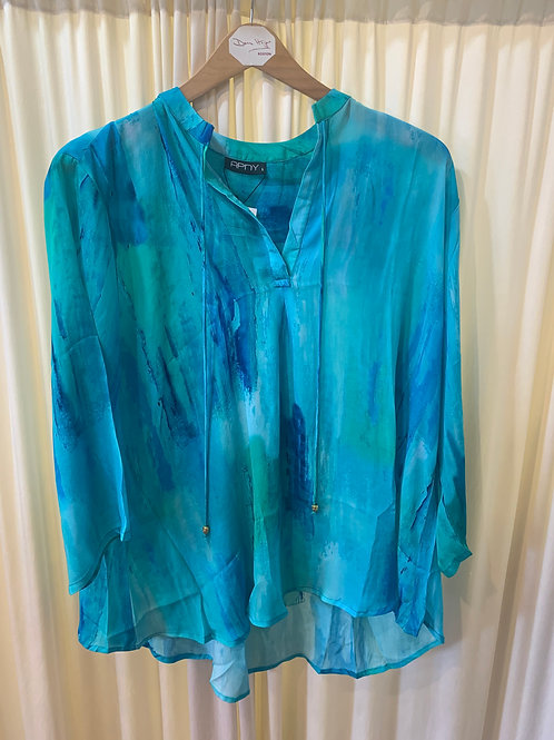 Turquoise Printed Blouse