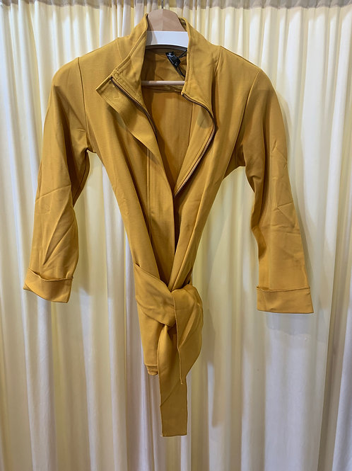 Mustard Ponte Knit Zip Jacket with Stretch Detail and Tie Belt