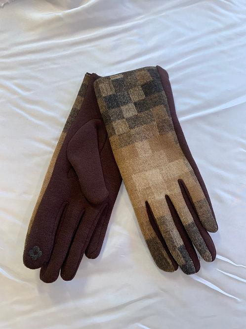 Camel/ Brown Checker Gloves