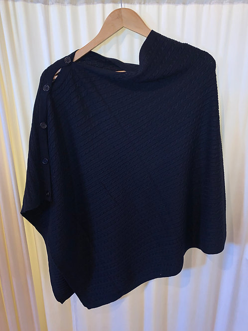Black No Sleeve Button Detail Pullover