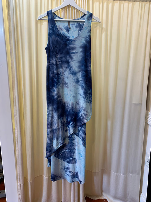 Navy and White Cotton / Rayon Tied Dyed Dress
