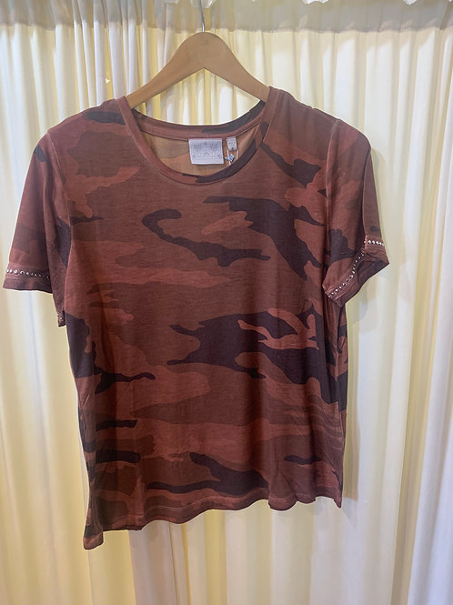 Dark Orange Camo Cotton T-Shirt