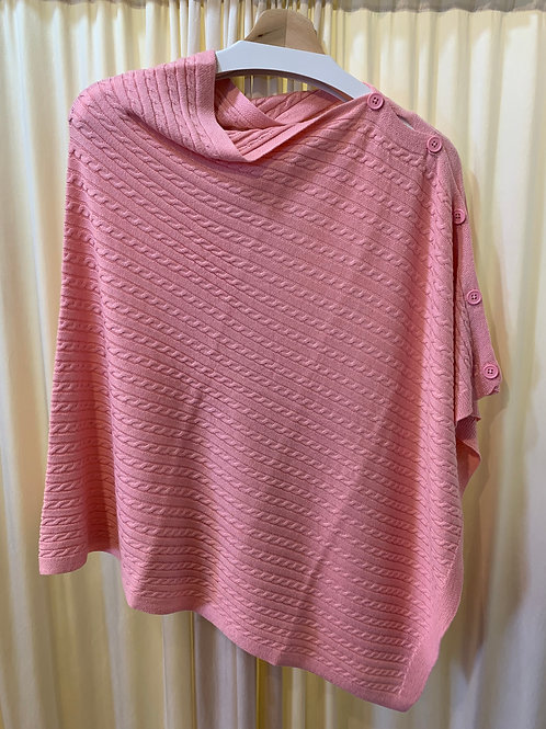 Pink Cotton Cable Knit Coverup with Button Detail