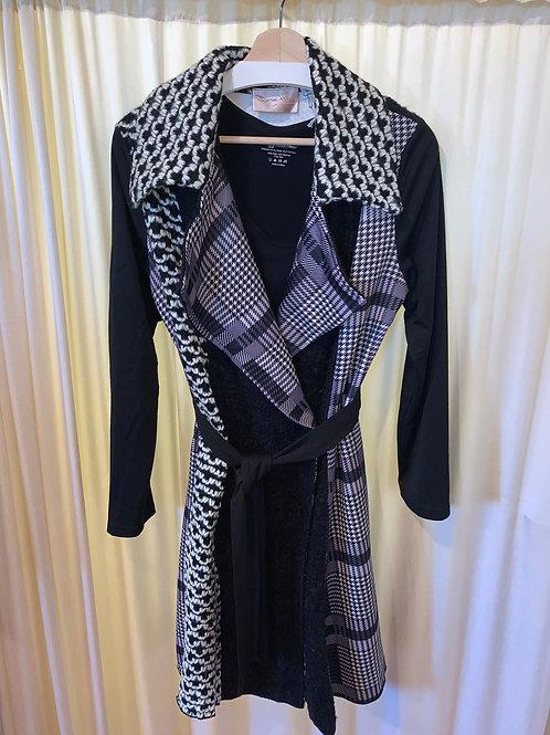 Denise Hajjar Black and White Pattern Imbordered Coat