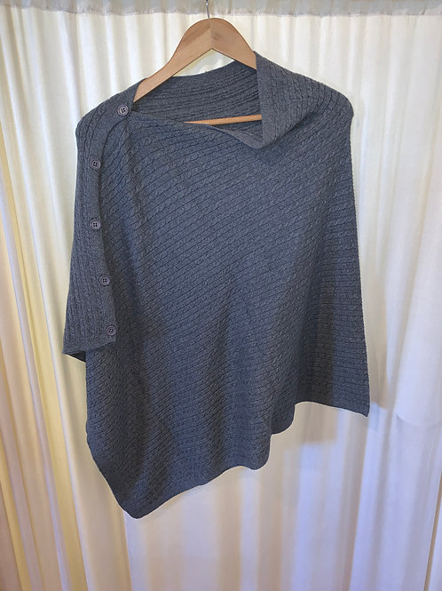 Grey No Sleeve Button Detail Pullover