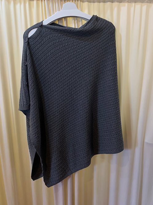 Grey Cotton Cable Knit Coverup with Button Detail