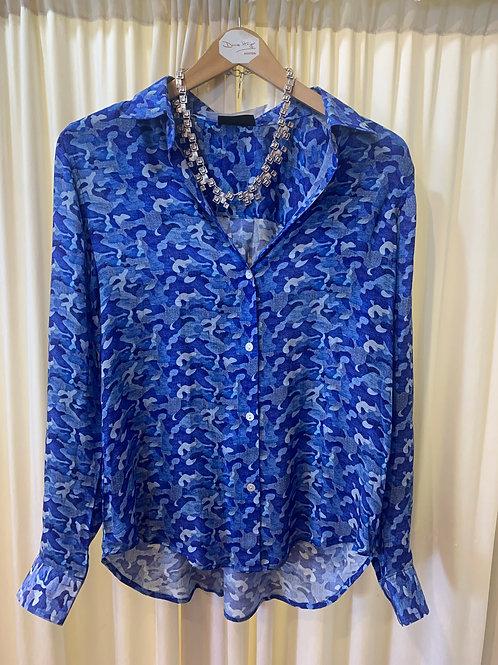 Multi-Blue Printed Blouse