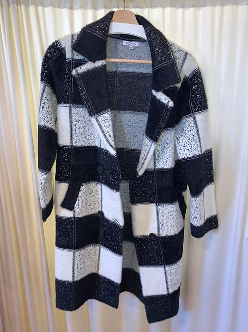 Baciano Black and White Block Knit Coat withPatch Pockets and Button Closure