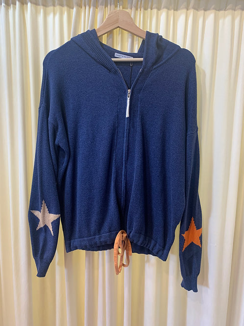 Navy Cotton Knit Hooded Sweater with Star Detail