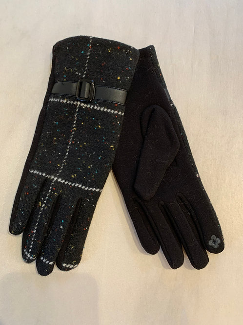 Black Pattern Winter Gloves