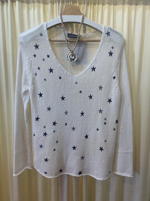 White Mini Stars Wooden Ships Cotton Knit Sweater