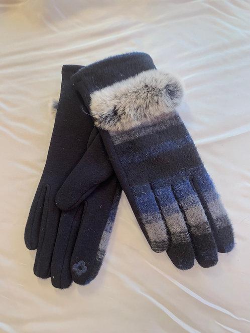 Blue / Black Fur Trimmed Gloves