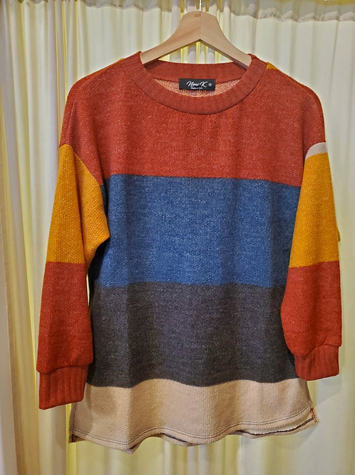 Poly/Rayon Color Block Knit Sweater