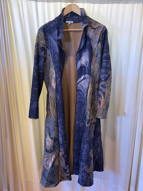 Colbalt Blue Printed Micro-SuedeAdore Trench Coat with Pockets