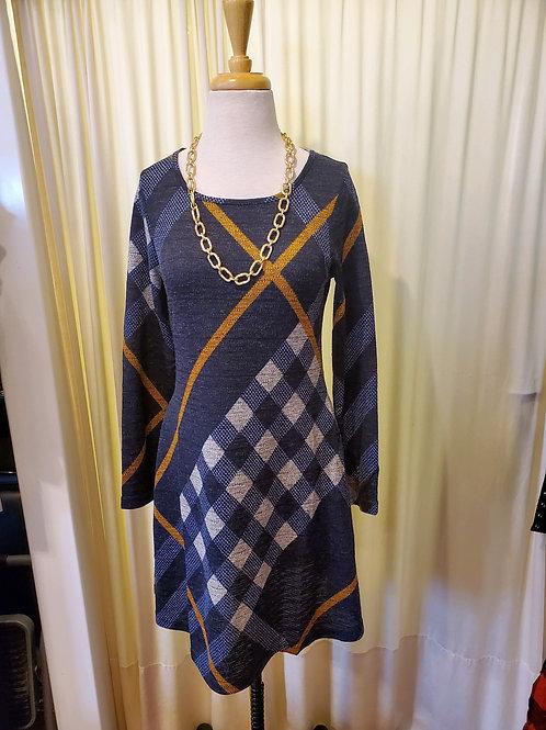 Bias Plaid Print Knit Swing Dress with Pockets