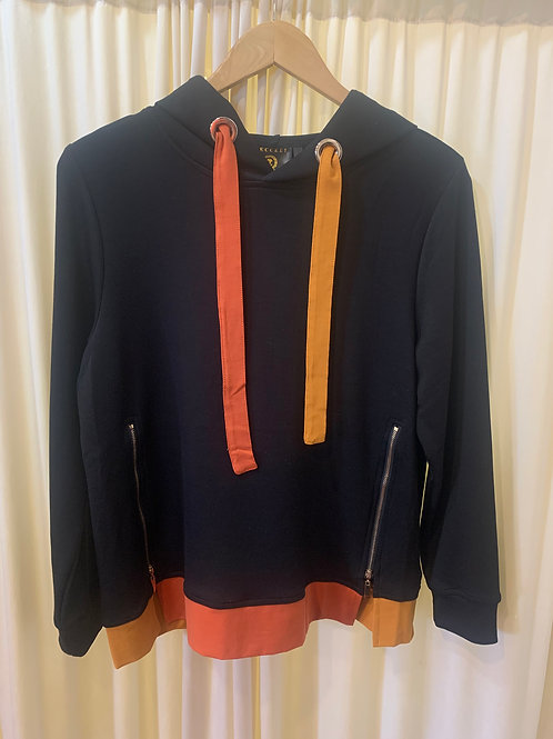 Black Jersey Color Block with Zipper Detail