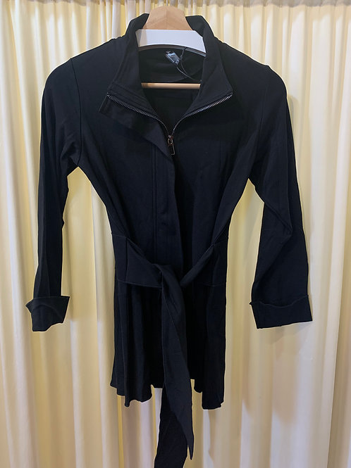 Black Ponte Knit Zip Jacket with Stretch Detail and Tie Belt