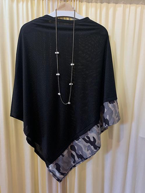 Black Knit Coverup with Camo Trim