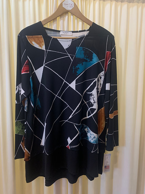 Jess & Jane Abstract Print Jersey Top