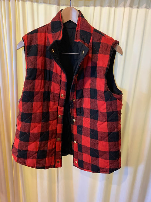 Red and Black Plaid Reverseable Vest