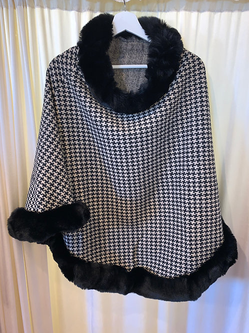 Houndstooth Poncho with Faux Fur Trim
