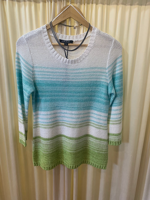 Turquoise to Green Cotton Stripe Sweater