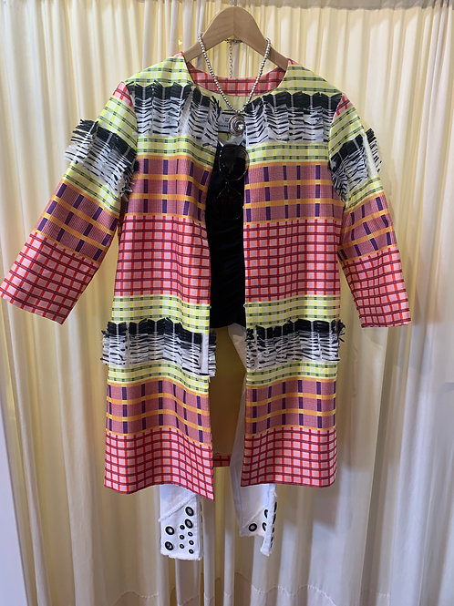 Textured Detail Spring Jacket Red, White, Black, Yellow