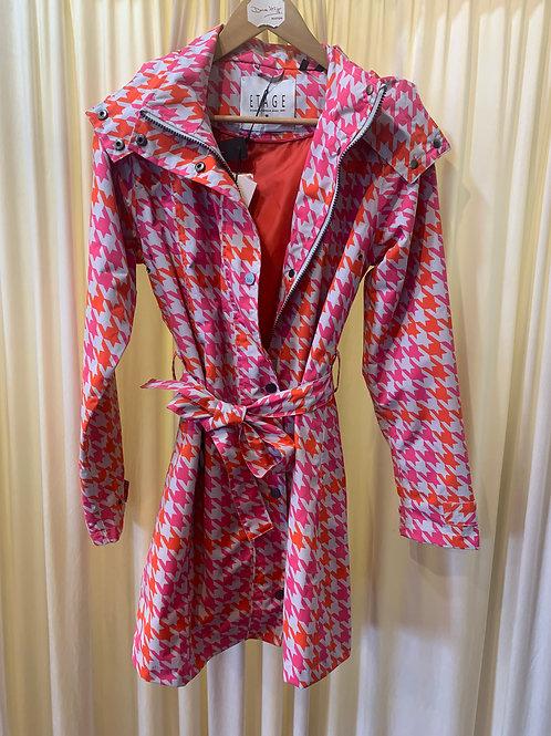 Houndstooth Pattern Rain Coat Pink and Orange