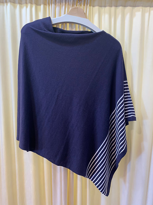 Navy with White Stripes Cotton Cable Knit Coverup with Button Detail