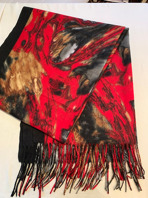 Marbleized Cotton and Rayon Scarf