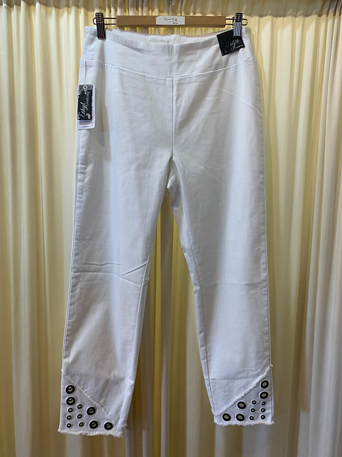 White Stretch Cotton Polly Pant with Grommet Detail