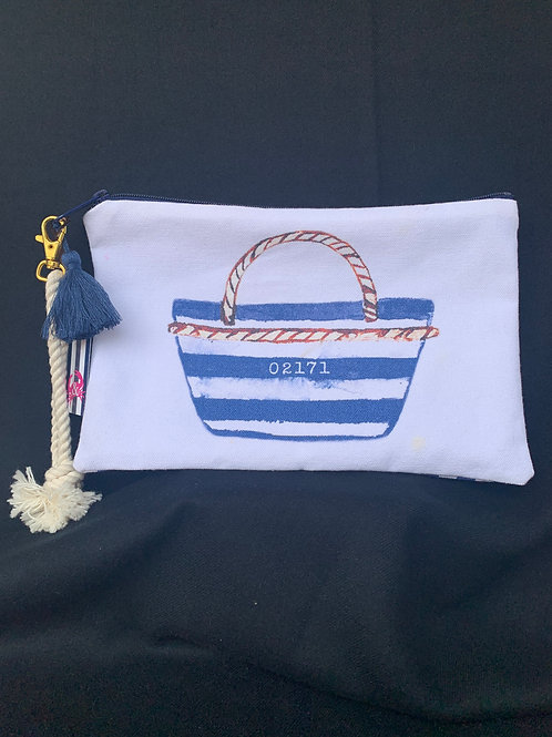 Zip Code Wristlet with Stripe Print Back