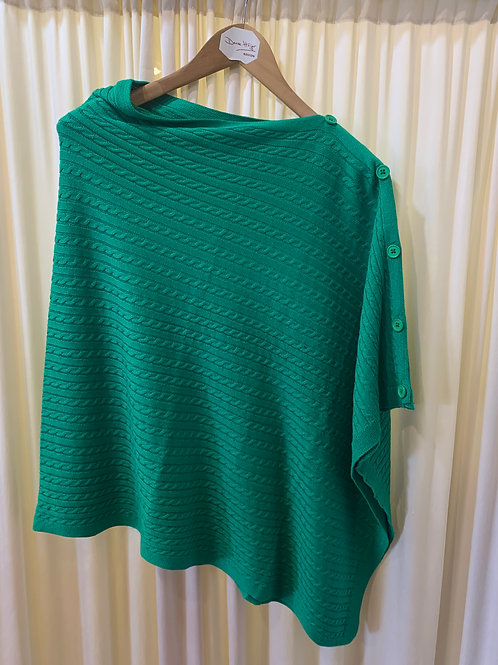 Green Cotton Cable Knit Coverup with Button Detail