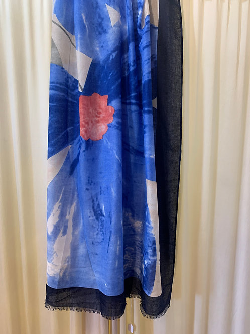 Blue and Black Flower Print Scarf
